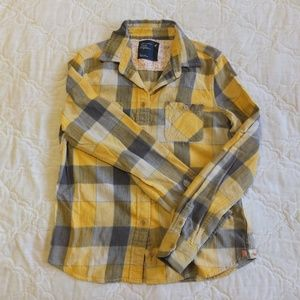 AMERICAN EAGLE Yellow Flannel Size 8